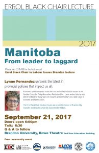 Errol Black Chair Lecture 2017 - Brandon, MB @ Brandon University Rowe Theatre