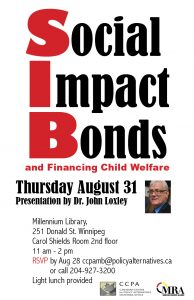 Social Impact Bonds and Financing Child Welfare by John Loxley @ Millennium Library